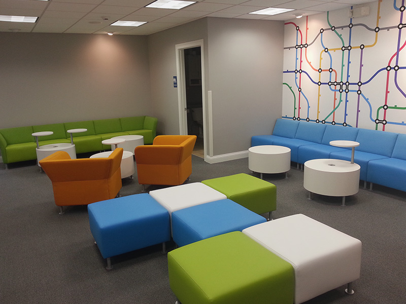 Corporate Waiting Room upholstered in Abbotsford Woolen Fabrics